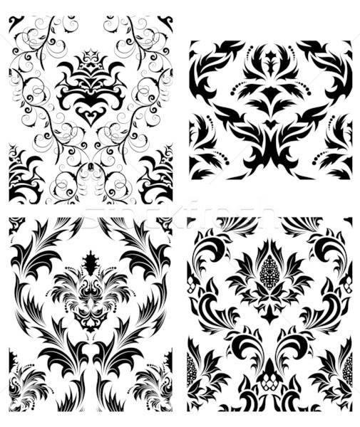 シームレス ダマスク織 パターン セット ベクトル 簡単 ストックフォト © angelp