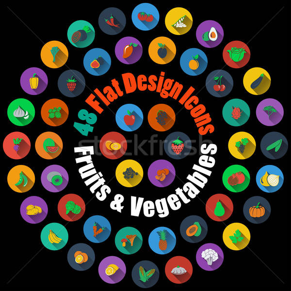 Fruits and Vegetables Icons  Stock photo © angelp