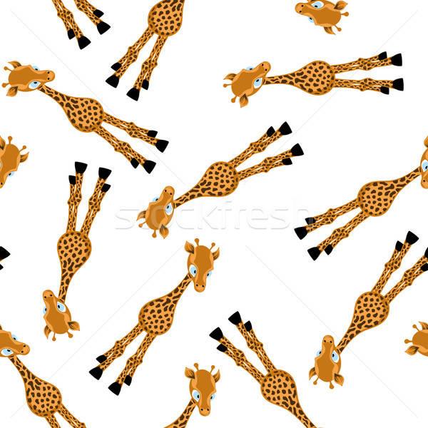 Sem costura engraçado desenho animado girafa Foto stock © angelp