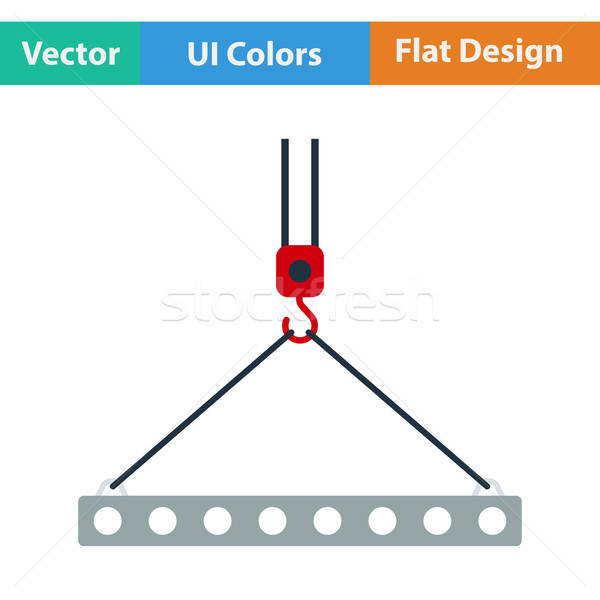 Flat design icon of slab hanged on crane hook Stock photo © angelp