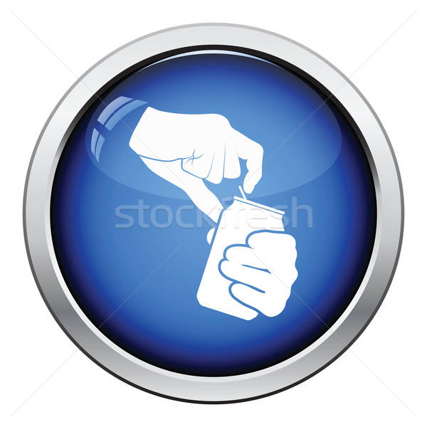 Humanos manos apertura aluminio pueden icono Foto stock © angelp