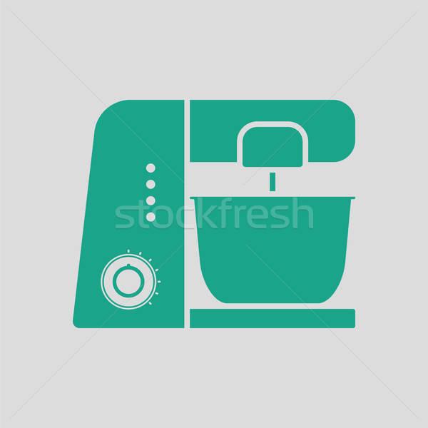 Konyha étel processzor ikon szürke zöld Stock fotó © angelp