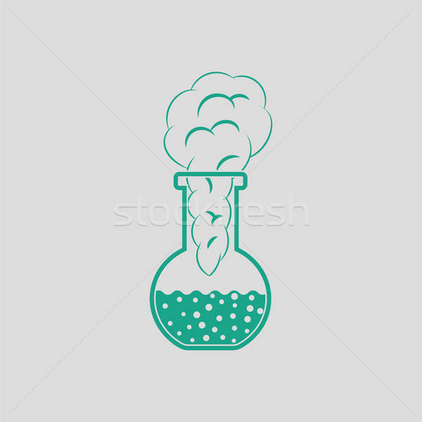 Icon of chemistry bulb with reaction inside Stock photo © angelp