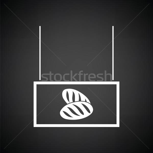 Brood markt afdeling icon zwart wit teken Stockfoto © angelp