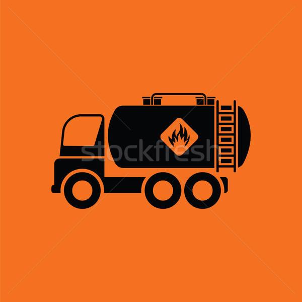Carburante serbatoio camion icona arancione nero Foto d'archivio © angelp