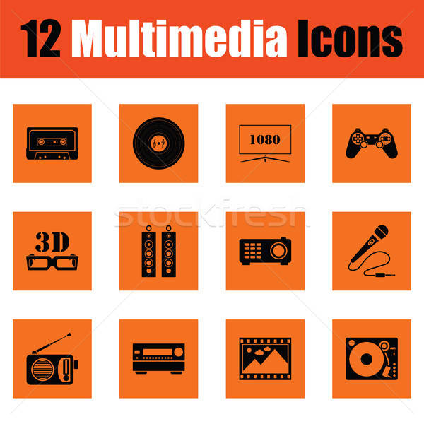 Set of multimedia icons Stock photo © angelp