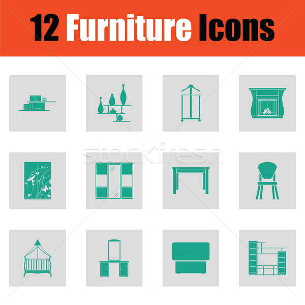 Home furniture icon set Stock photo © angelp