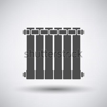 Radiatore icona grigio segno web inverno Foto d'archivio © angelp