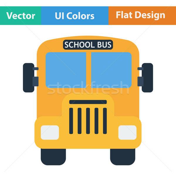 Flat design icon of School bus Stock photo © angelp