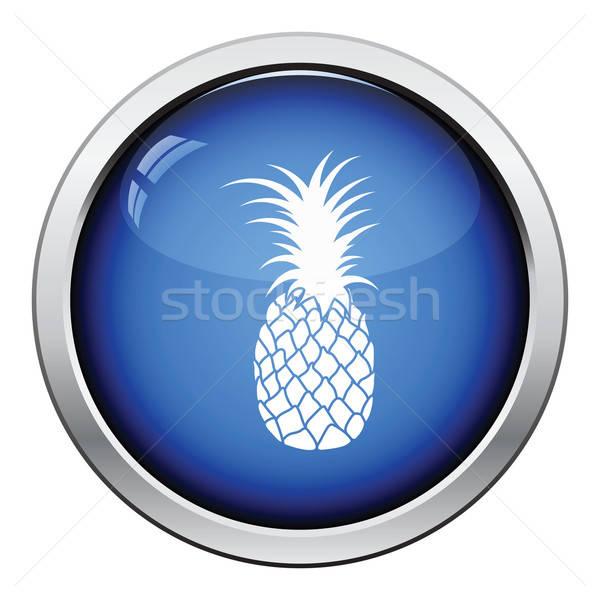 икона ананаса кнопки дизайна знак Сток-фото © angelp