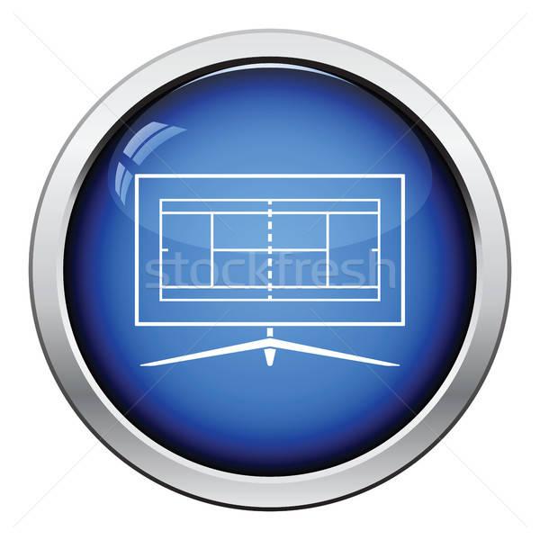 Tennis tv traduzione icona lucido pulsante Foto d'archivio © angelp
