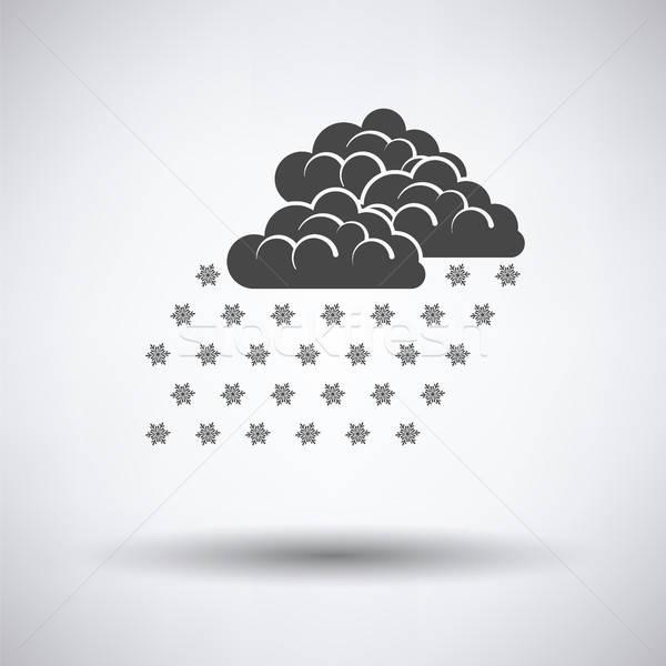 Sneeuwval icon grijs hemel abstract achtergrond Stockfoto © angelp