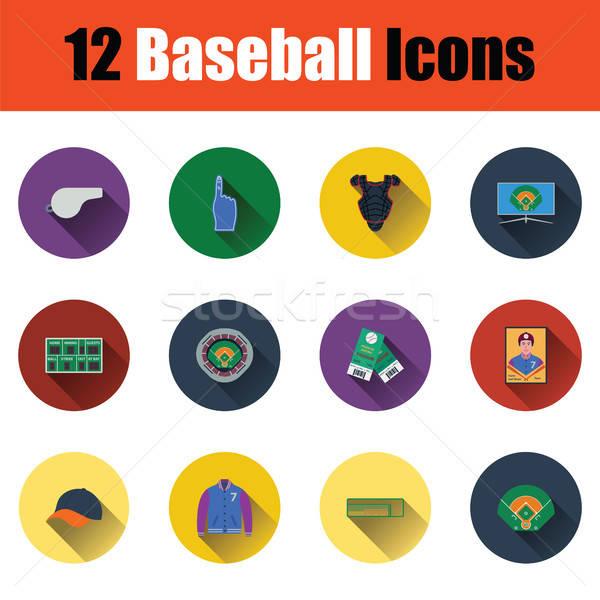 Stock fotó: Baseball · ikon · gyűjtemény · terv · ui · színek · tűz