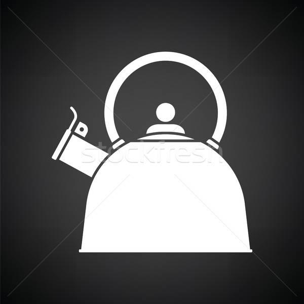 Konyha bogrács ikon feketefehér otthon háttér Stock fotó © angelp