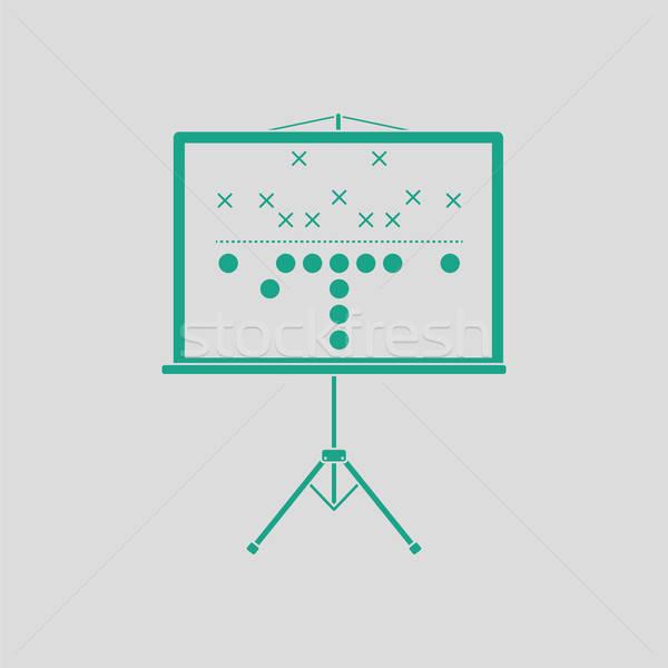 Foto stock: Americano · partido · de · fútbol · plan · stand · icono · gris