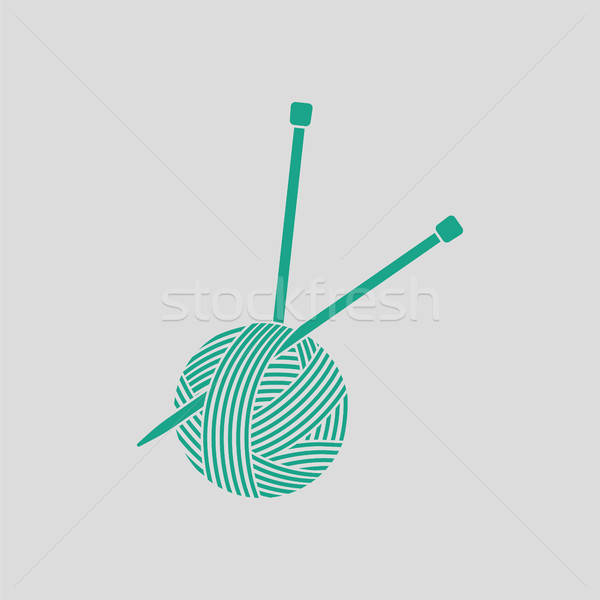 Yarn ball with knitting needles icon Stock photo © angelp