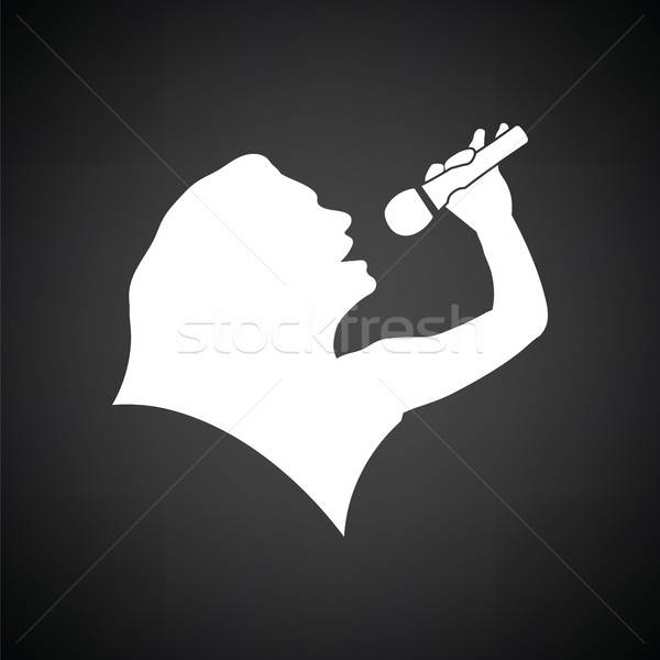 Karaoke womans silhouette icon Stock photo © angelp