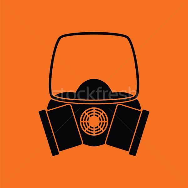 Icône chimie masque à gaz orange noir médicaux Photo stock © angelp