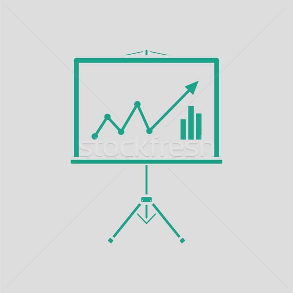 Analytics stand icon grijs groene abstract Stockfoto © angelp