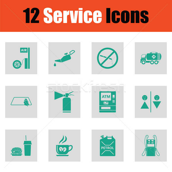 Set of twelve Petrol station icons Stock photo © angelp