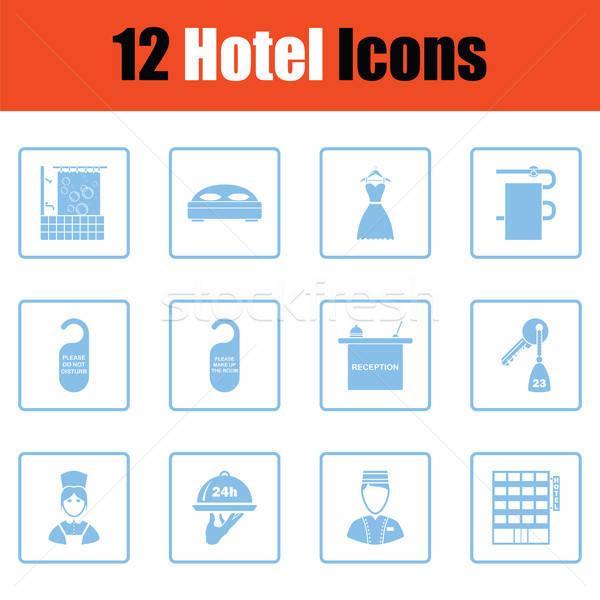 Ingesteld twaalf hotel iconen Blauw Stockfoto © angelp
