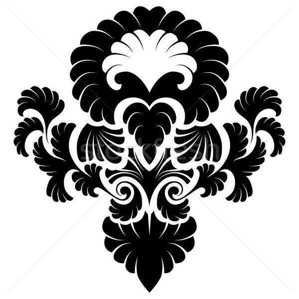 Damasc emblema stil alb floare fundal Imagine de stoc © angelp