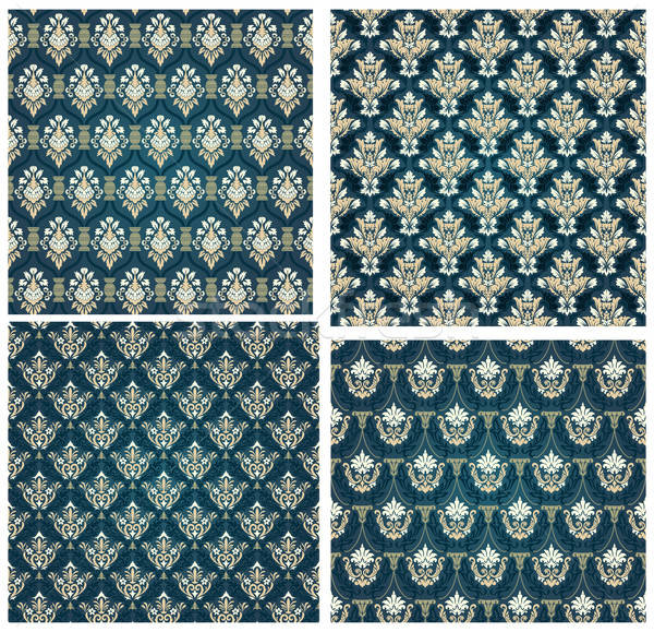 Colorful Seamless Damask Set Stock photo © angelp