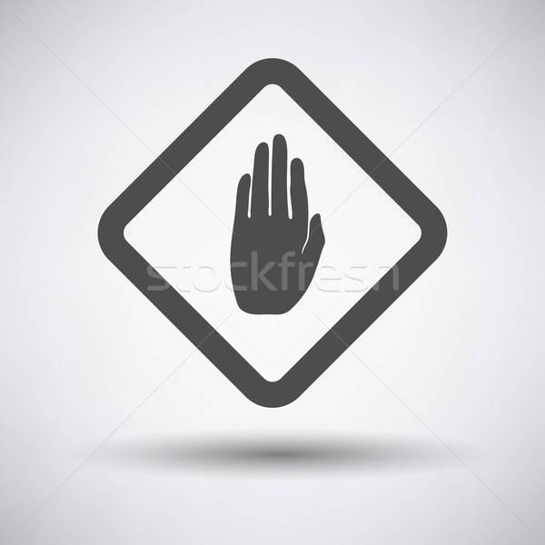 Warning hand icon Stock photo © angelp