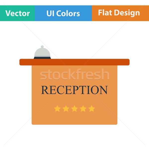Flat design icon of reception desk Stock photo © angelp