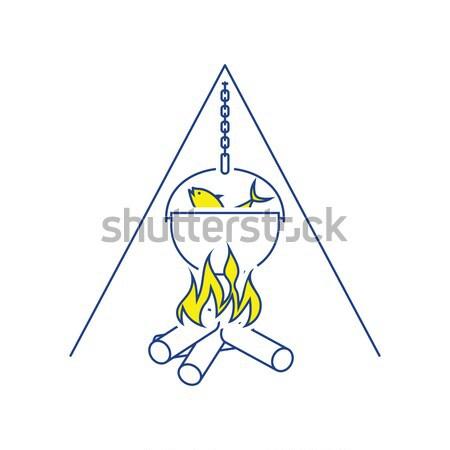 Dizayn ikon yangın balık tutma pot ui Stok fotoğraf © angelp