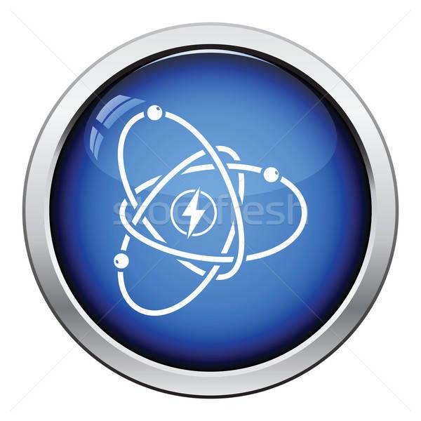 Atom energia ikon fényes gomb terv Stock fotó © angelp