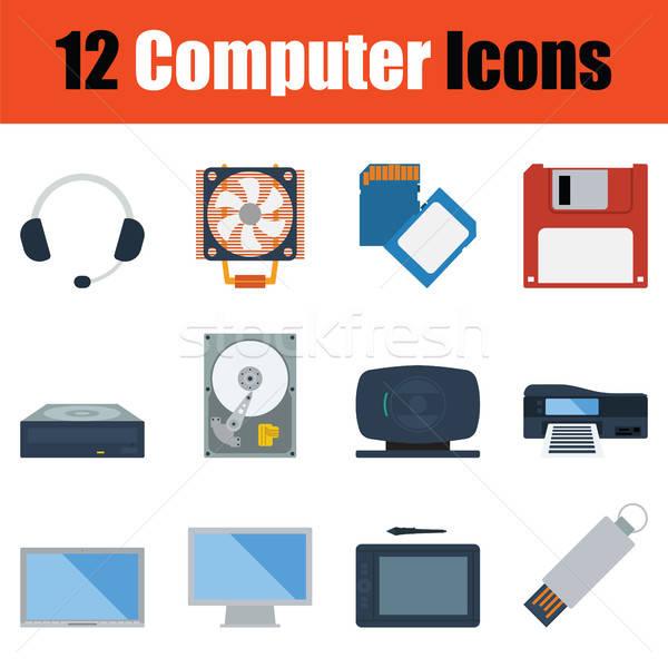 Számítógép ikon szett szín számítógép technológia erő Stock fotó © angelp
