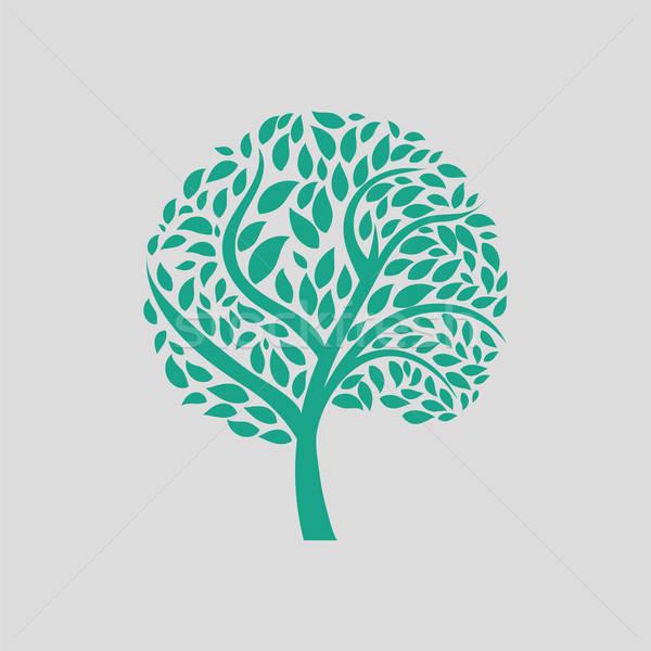 Ecológico árbol hojas icono gris verde Foto stock © angelp