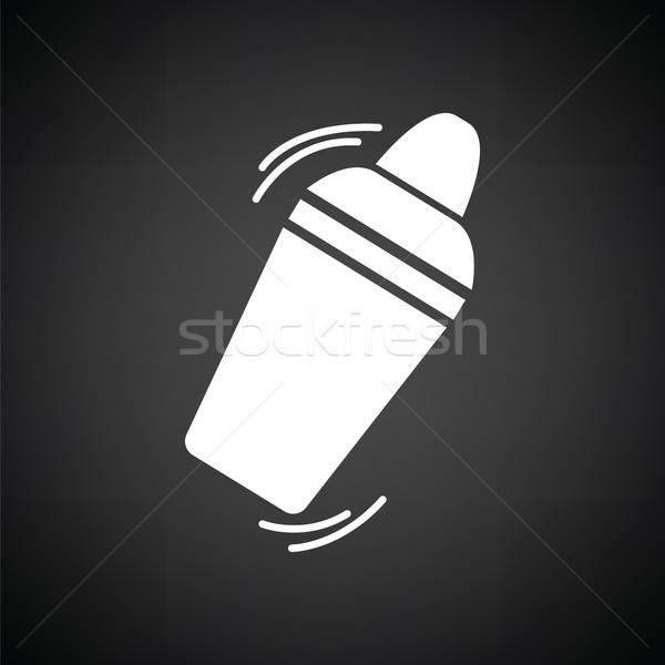 Bar shaker icon zwart wit drinken nacht Stockfoto © angelp
