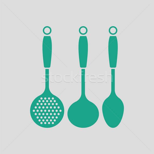 Kepçe ayarlamak ikon gri yeşil gıda Stok fotoğraf © angelp