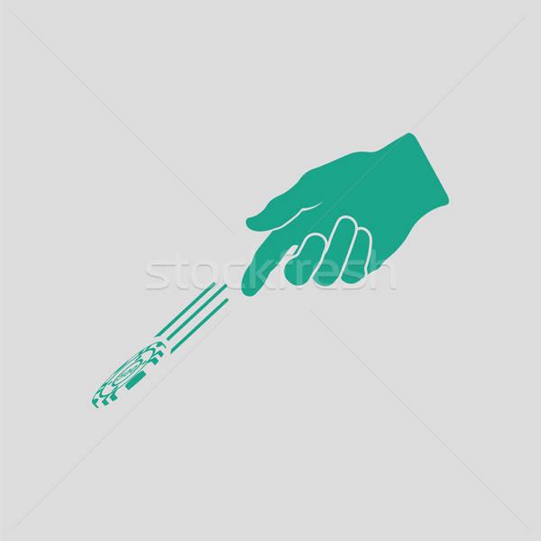 Foto stock: Mão · jogar · batatas · fritas · ícone · cinza