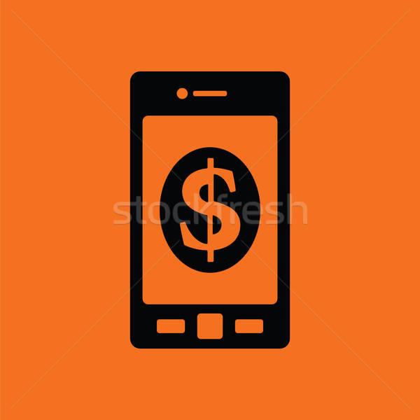 Foto d'archivio: Smartphone · simbolo · del · dollaro · icona · arancione · nero · telefono