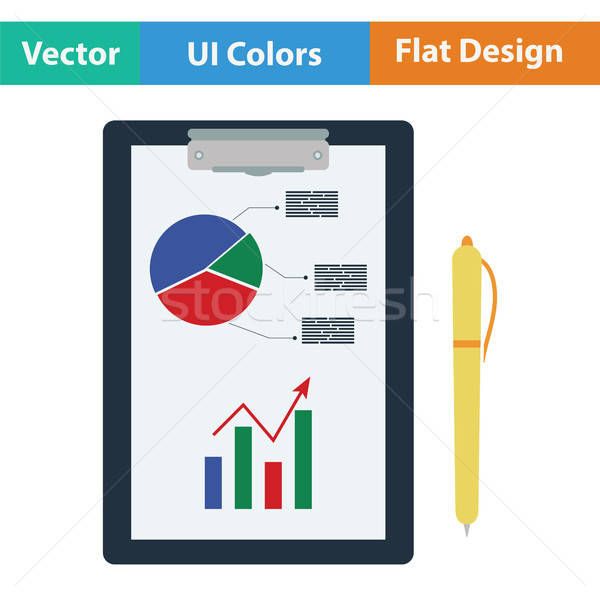 Stock photo: Writing tablet with analytics chart icon
