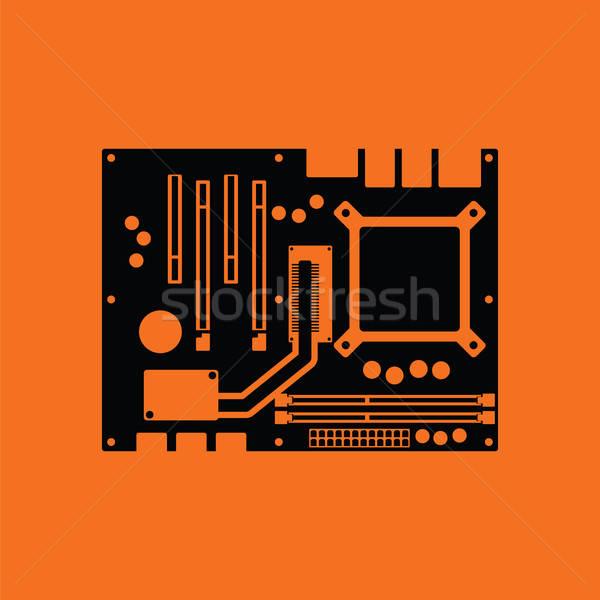 マザーボード アイコン オレンジ 黒 技術 科学 ストックフォト © angelp