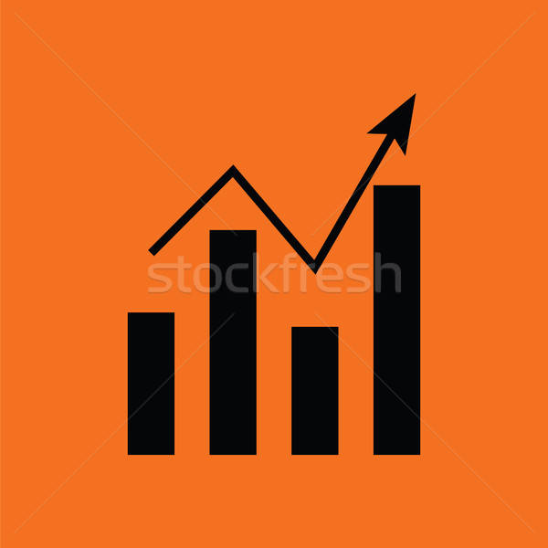 Analytics grafiek icon oranje zwarte abstract Stockfoto © angelp