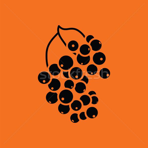 Fekete ribiszke ikon narancs felirat sziluett Stock fotó © angelp
