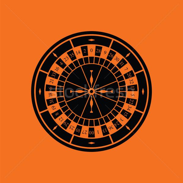 Roleta ícone laranja preto tabela bola Foto stock © angelp