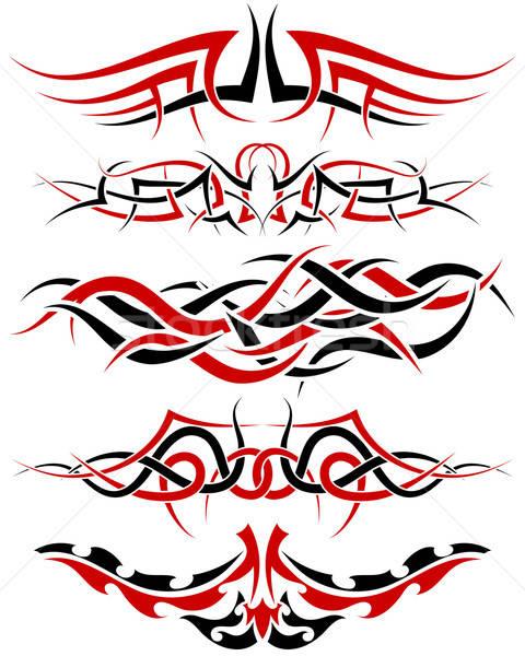 Tatuagens conjunto padrões preto vermelho tribal Foto stock © angelp