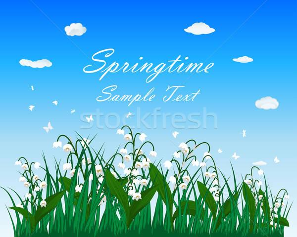 весна луговой Blue Sky бабочки цветок весны Сток-фото © angelp