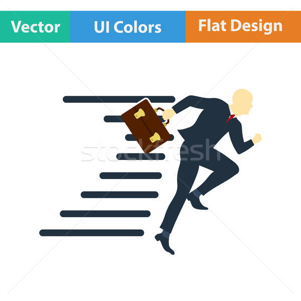 Flat design icon of Accelerating businessman Stock photo © angelp