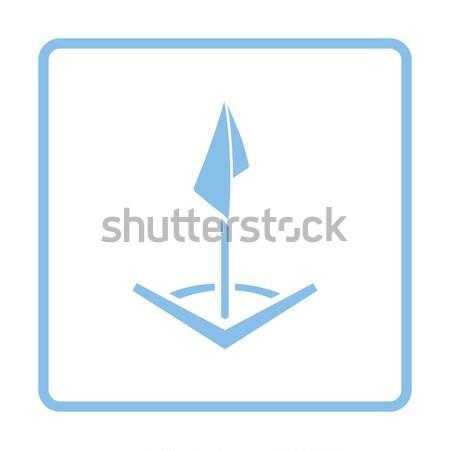 Ikon futbol sahası köşe bayrak parlak düğme Stok fotoğraf © angelp