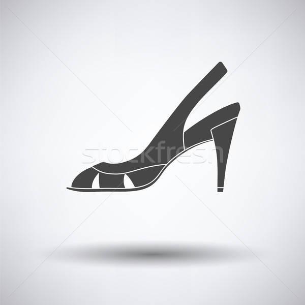 Kobieta ikona szary kobiet farby tle Zdjęcia stock © angelp