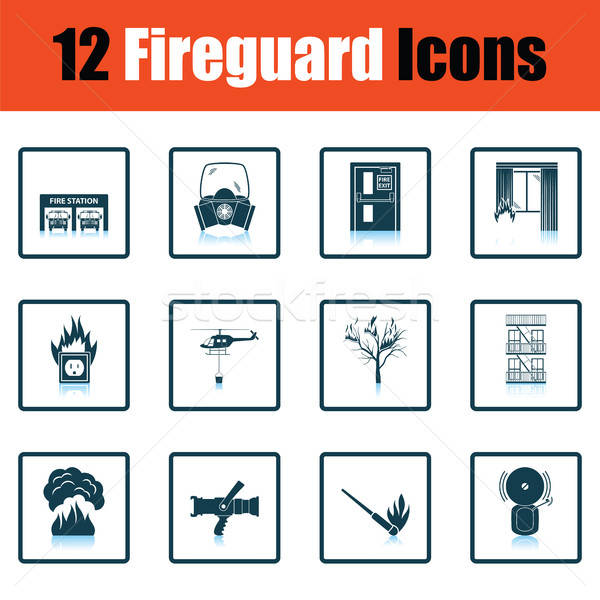 Set of fire service icons Stock photo © angelp