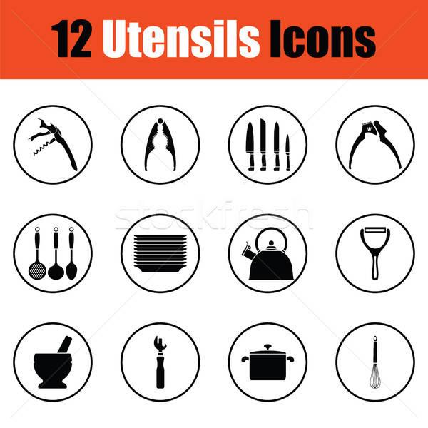 Utensils icon set Stock photo © angelp