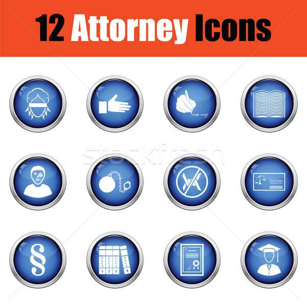Set Rechtsanwalt Symbole glänzend Taste Stock foto © angelp